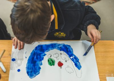 Child painting with water colours